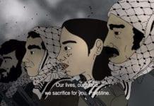 Skjermdump fra den norske barnefilmen Tårnet, hvor palestinernes terrorkrig mot israelere blir framstilt som noe heltemodig og «magisk».