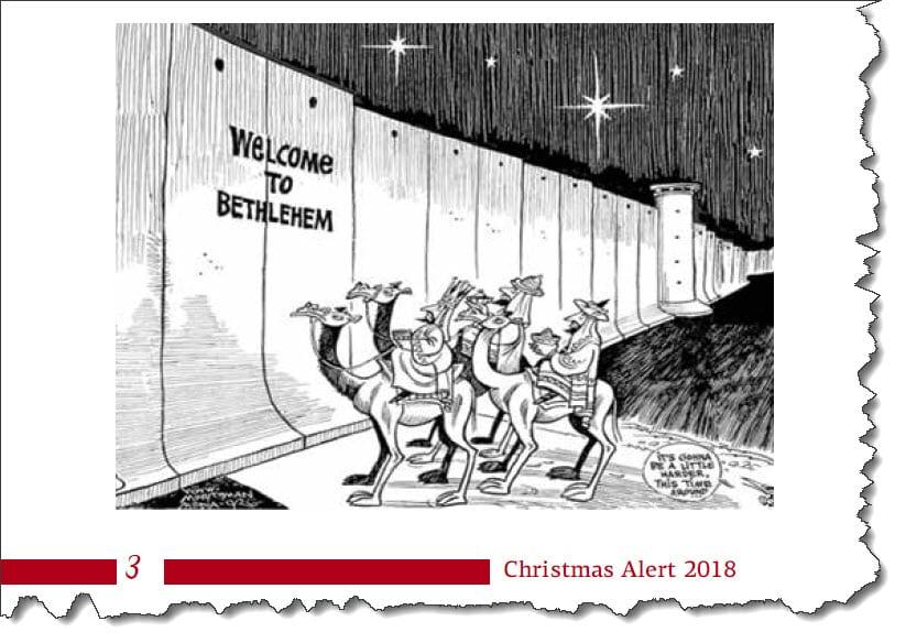 Fakmile fra Kairos Palestine Christmas Alert 2018.