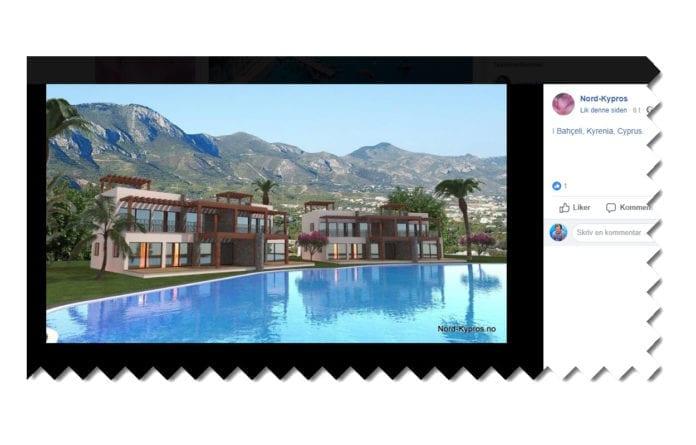 De norske bosetterne i det okkuperte området blir fristet med vakker utsikt til fjellene i bosetningsområdet. (Skjermdump fra Facebook-siden Nord-Kypros)