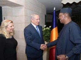 Sara og Benjamin Netanyahu tar imot Tsjads president Idriss Déby i Jerusalem. (Foto: Amos Ben Gershom/Flickr)