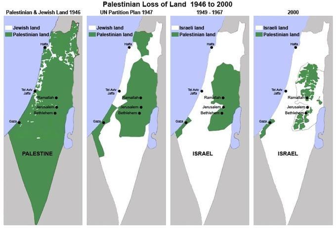 Disse kartene er omstridte og illustrerer verken staten Palestina (denne eksisterer ikke) eller palestinerne og israelernes eiendomsrett til land. De er en illustrasjon på hvordan områdetpalestinerne har bodd på, gradvis har blitt mindre – fra britenes mandat over området og fremtil år 2000.