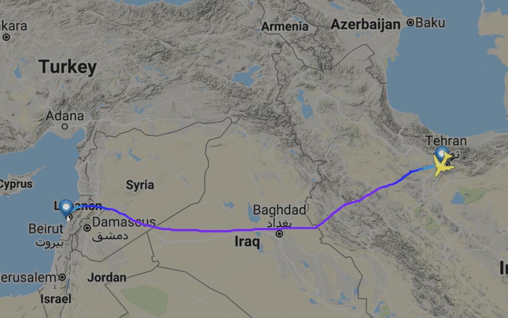 Gjennom offentlig data kan man se det Iranske selskapet Fars Air Qeshm har flydd fra Teheran til Beirut. (Skjermdump: FlightRadar24)