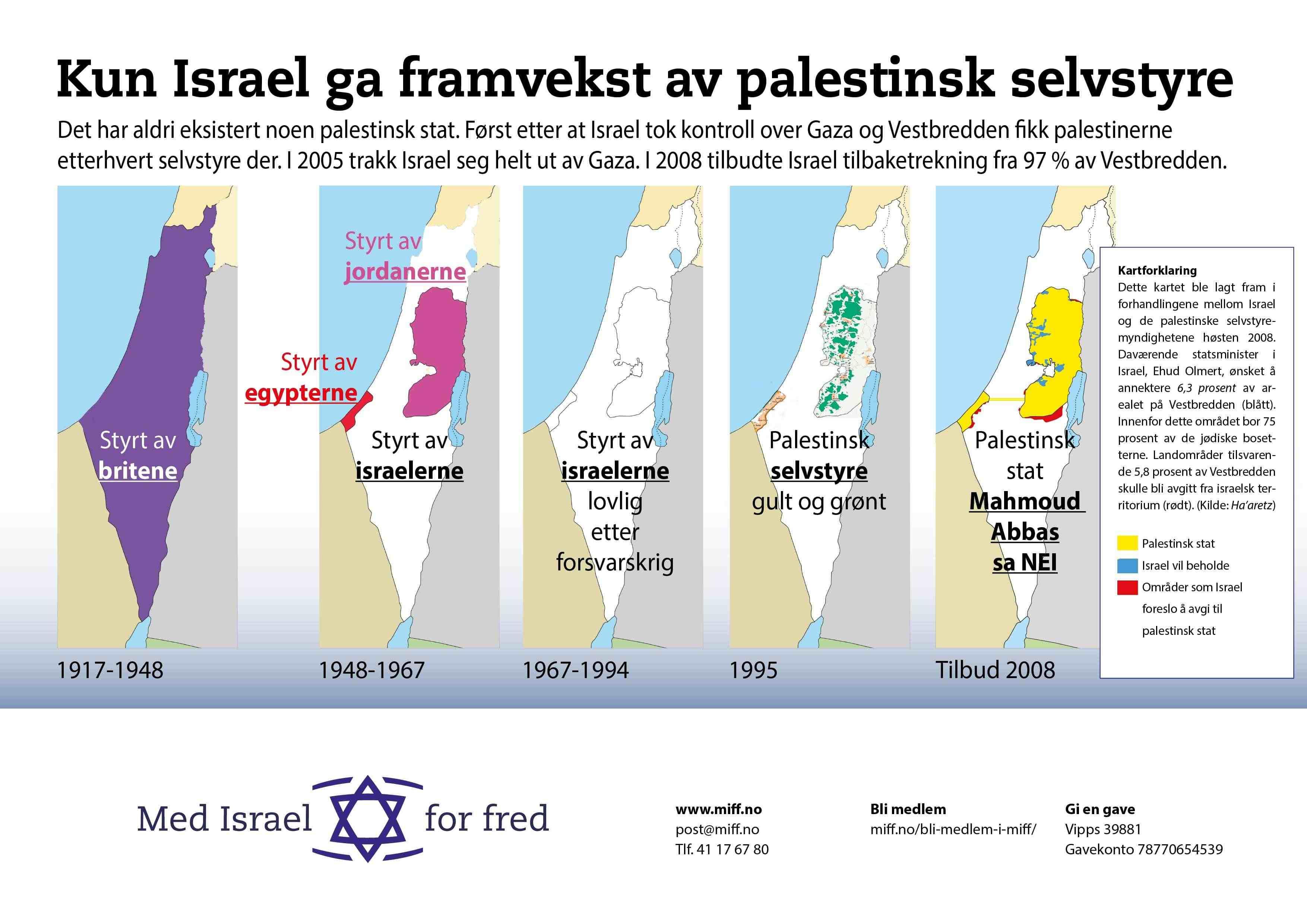 Kun under israelsk kontroll har palestinsk selvstyre kunnet vokse fram.
