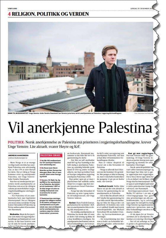 Faksmile fra Vårt Land lørdag 29. desember.