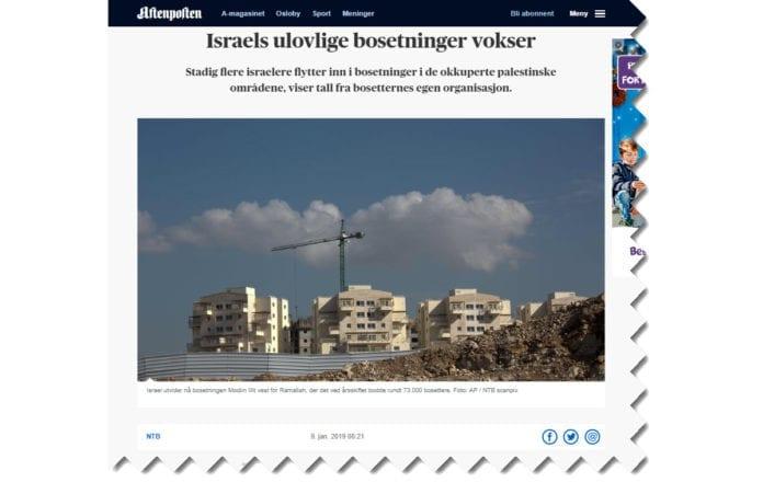 Skjermdump fra Aftenposten.no 9. januar 2019.