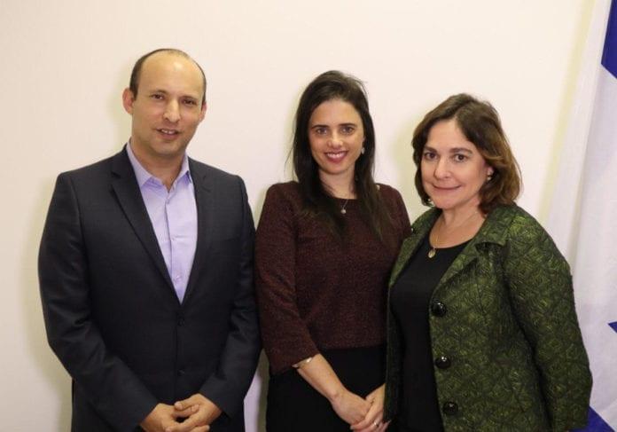 Naftali Bennet, Ayalet Shaked og Caroline Glick fra New Right-partiet. (Foto: Hayamin Hehadash)