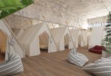 Spot Hostel vil tilby turister billig overnatting i Tel Aviv, blant annet ved å leie ut telt innendørs. (Foto: Spot Hostel)