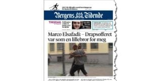 - Det var ubehagelig å sette [MIFFs annonse på] trykk og det er ubehagelig å forsvare den. Men mest av alt er det nødvendig og riktig, skriver Bergens Tidende til Pressens Faglige Utvalg. (Illustrasjon: Faksmile av forsiden til Bergens Tidende 19. februar 2019)