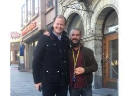 Conrad Myrland fra MIFF og intervjuer Benjamin Wold. (Foto: Privat)