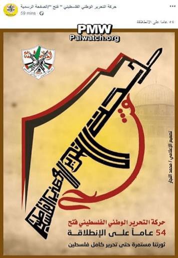 """""""Vår revolusjon fortsetter inntil hele Palestina er frigjort"""" (Fra Fatahs Facebook-side desember 2018)"""