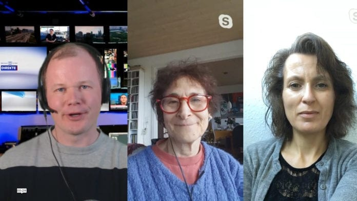 Conrad Myrland, Dina Grossman og Rika Greenberg oppsummerer det første året til MIFF Danmark. (Skjermdump fra YouTube/Facebook)
