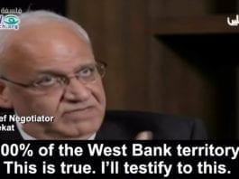 Saeb Erekat: - Israel tilbød mer enn 1967-landområdene. (Skjermdump fra PA TV 1. desember 2018.)