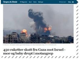 Bergens Tidende var et av mange norske medier som spredte historien om at israelske bomber hadde drept en mor og en baby. (Foto: Faksimile)