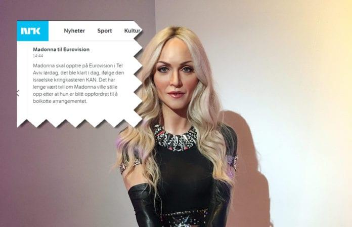 Madonna-dukke i Madame Tussauds i Las Vegas og innfelt skjermdump fra nrk.no. (Foto: Luke Rauscher, flickr.com)