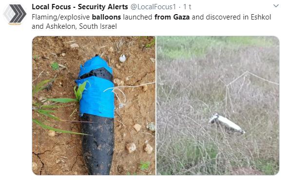 De siste to årene har palestinere fra Gaza sendt blant annet droner, ballonger og kondomer fylt med sprengstoff inn over grensen til Israel. (Foto: Local Focus - Security Alerts @LocalFocus1)