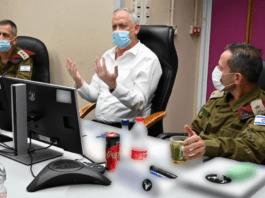 Israels forsvarsminister Benny Gantz i midten av bildet. (Foto: @gantzbe)