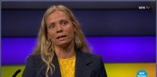 Marte Heian-Engdal på NRK Debatten 19. mai 2021. (Skjermdump fra tv.nrk.no)
